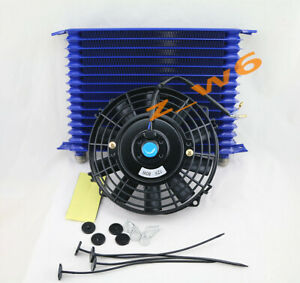 15 Row Engine Trans Transmission 10an Universal Oil Cooler 8 Electric Fan Kit