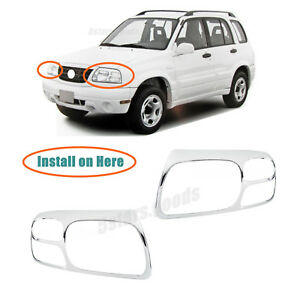 Chrome Front Headlight Lamp Covers Trims For 1999 2005 Suzuki Grand Vitara Suv