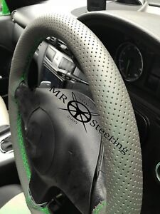 Fits Lexus Rx 98 Grey Perforated Leather Steering Wheel Cover Green Double Stch