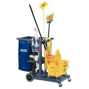 Janitorial Cart Business Cleaning Supplies Caddy Mop Bucket Broom Laundry Bag