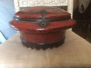 Antique Ornate Dowry Box Handmade Hand Painted Signed Red Black Wood