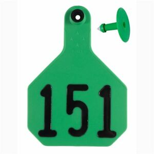 Y tex Large 4 star Tags Cattle Fade Tear Resistent 151 175 Green 25ct Pkg