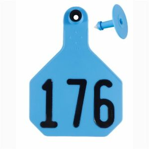 Y tex Large 4 star Tags Cattle Fade Tear Resistent 176 200 Blue 25ct Pkg