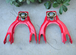 Pair Red Front Camber Upper Control Arm Kits For 1992 1995 Honda Civic Del Sol