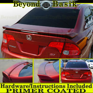 2006 2011 Honda Civic Si 4 Door Factory Style Spoiler Wing W Led Light Primer