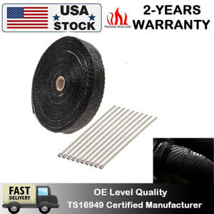 1 50ft High Temperature Header Manifold Exhaust Wrap Fiberglass Roll Black Ties