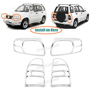 Chrome Headlight Taillight Covers Trims For 1999 2003 Suzuki Grand Vitara Suv