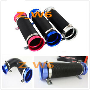 3 Inch Blue Flexible Short Ram Cold Air Intake Duct Turbo Black Tube Pipe Hose