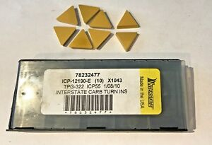 Interstate Carbide Inserts Tpg 322 Icp55 Icp 12190 e Qty 8 New