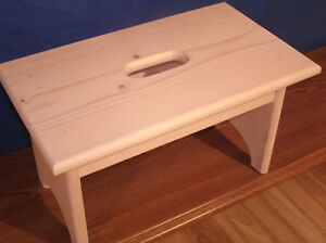 Wooden Step Stool With Hand Hole 9 Unfinished Pine