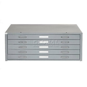 Interion Blueprint Flat File Cabinet 5 Drawer 41w Gray