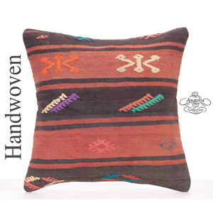 Embroidered Ethnic Kilim Rug Cushion Cover 18x18 Vintage Turkish Throw Pillow