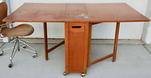 Mid Century Modern Drop Leaf Hideaway Table Home Office Game Or Sewing