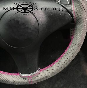 Grey Perforated Leather Steering Wheel Cover For Volvo P122 Hot Pink Double Stch