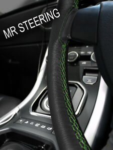For 1999 2009 L Rover Discovery Leather Steering Wheel Cover Green Double Stitch