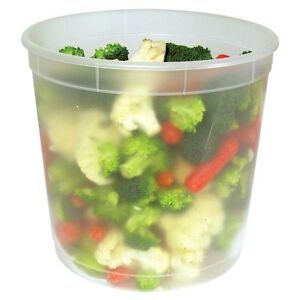 Pack Of 24 Plastic Deli Food Container 128 Oz Gallon Delitainer With Lids
