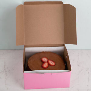 25 Pink Bakery Box 8x8x4 For Cupcake Cookie Candy Pastry Favor Gift