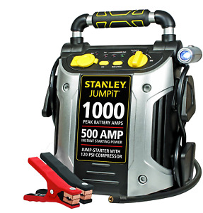 Jump Starter Battery Power Car Jumper Box 500 Amp 1000 Peak With Compressor New