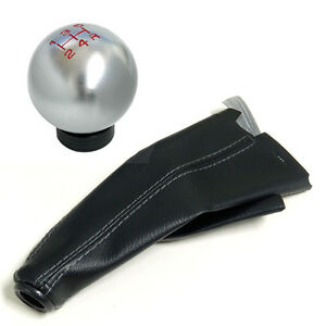 Silver Round Billet Racing Shift Knob Boot Combo For Mitsubishi 5 Speed Mt B