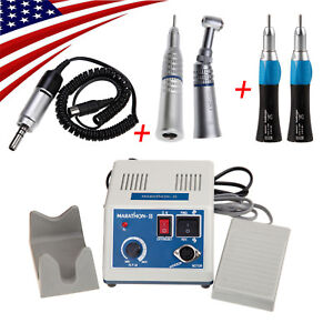 Dental Marathon Micromotor With 4 Low Speed Handpiece Straight Push Contra Angle