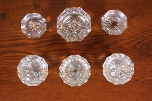Lot Of 6 Mixed Clear Glass Door Knob Anitque Vtg Handles Architectural Salvage