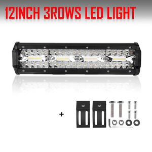 12inch Led Work Light Bar 288w Combo For Jeep Offroad Driving Truck Dual Color