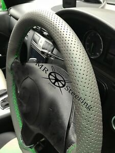 For Mercedes Vito 2 Grey Perforated Leather Steering Wheel Cover Green Double St