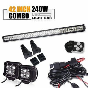 42 Led Work Light Bar 240w 4 18w Pods Cube Can Am Maverick Commander 800 1000