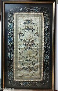 Antique Classical Hand Embroidered Silk Tapestry