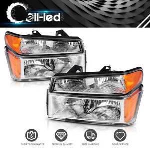 2x Headlights Assembly Bumper Lights For 2004 2012 Gmc Canyon Chevy Colorado