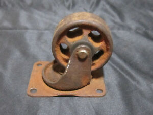 Vintage Steel Cast Iron Industrial Swivel Caster Wheels Heavy Duty Riveted