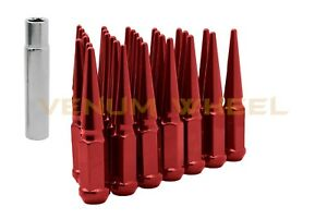 Ford F 150 Mustang 12pc Replacement 1 2 20 Red Spike Lug Nuts Socket Key