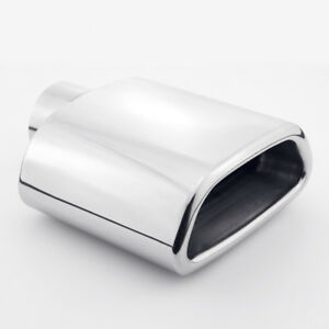 2 25 Inlet Tailpipe Trapezoid Resonated Exhaust Tip Muffler Stainless Steel