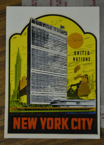 Original Vintage New York City Travel Decal United Nations Building Nyc Old Auto