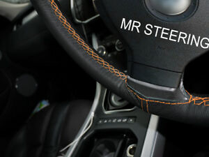For Ford Fiesta 2002 10 Black Leather Steering Wheel Cover Orange Double Stitch