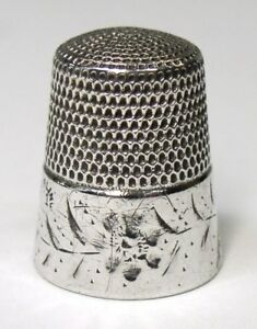 Antique Simons Bros Sterling Silver Thimble Bright Cut Flower Leaves C1880s