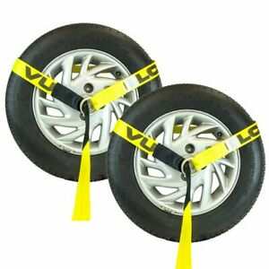 8 Lasso Strap Wrecker Car Hauler Truck Tow Dolly Tire Wheel Tie Down 2 Pack
