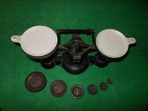 Antique Balanced Scale With Weights