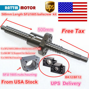us Stock Ballscrew Sfu1605 l500mm With Nut bk bf 12 nut Housing For Cnc Router