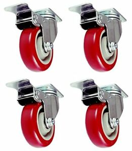 4 Pcs 4 Commercial Red Pu Caster Wheels Swivel Cart Chair Furniture With Brake