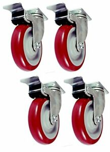 4 Pcs 5 Commercial Red Pu Caster Wheels Swivel Cart Chair Furniture With Brake