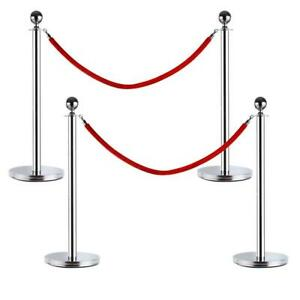 4 Silver Stanchion With Red Velvet Rope Post Crowd Control Queue Pole Barrier