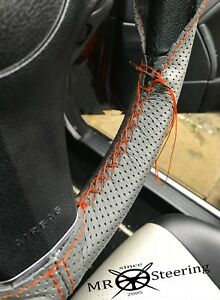 For Honda Logo Grey Perforated Leather Steering Wheel Cover 96 Orange Double St
