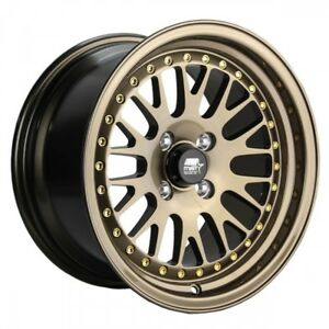 Mst Wheels Mt10 Rims 15x8 4x100 114 3 25 Offset Stepped Lip Full Glossy Bronze