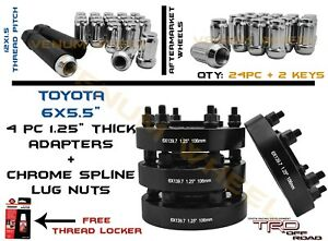 Toyota 4runner Full Kit Of 6x5 5 1 25 Hubcentric Adapters 24pc Chrome Lug Nuts