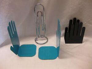 Giant Paper Clip Mid Century Modern Hand Book Ends Hand Envelope Holder Set