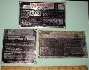 3 Antique Original Wisconsin Engine Specificaton Id Plates Industrial Plaques