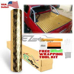 48 x120 Gold Chrome Diamond Plate Vinyl Decal Sign Sheet Film Self Adhesive