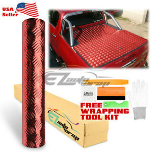48 x72 Red Chrome Diamond Plate Vinyl Decal Sign Sheet Film Self Adhesive