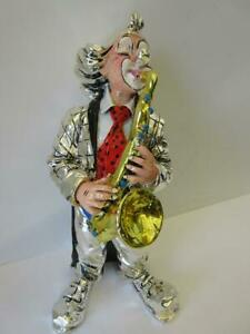 Italian Silver Plated Enamel Handcrafted Music Saxophone Clown Figurine Ma 706